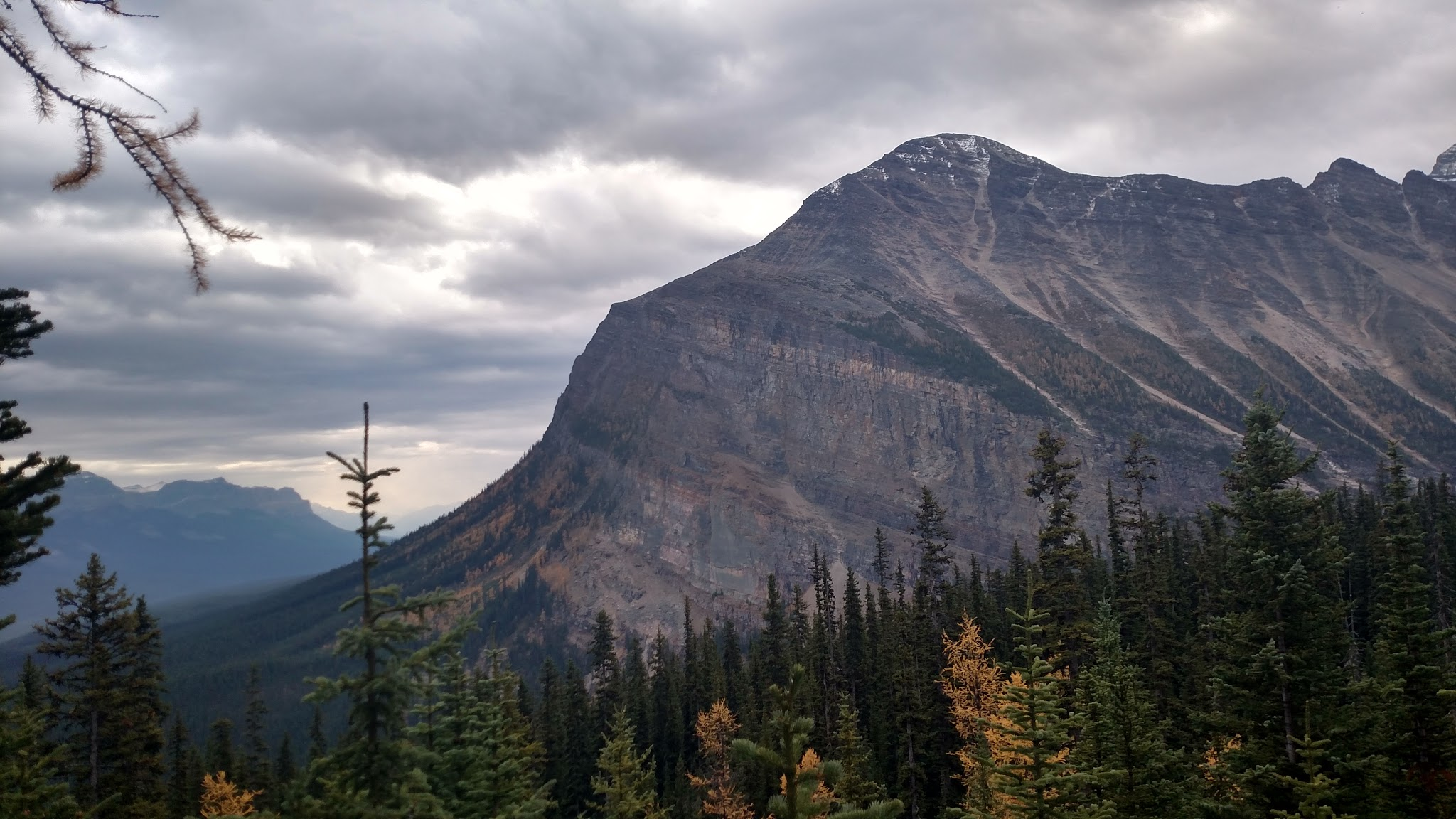 photo of mountain peak against cloudy sky with evergreen trees in foreground