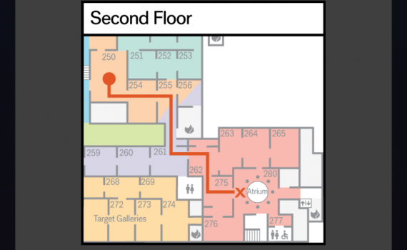 MIA floorplan with red line showing long path between clues